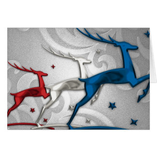 Red Silver Blue Reindeer Holiday Card