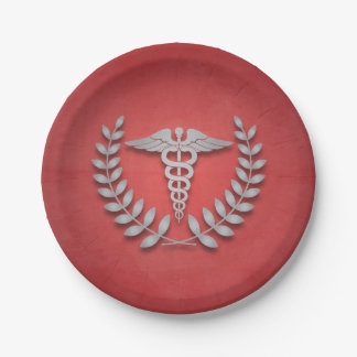 Red + Silver Caduceus Medical Doctors Party Paper Plate