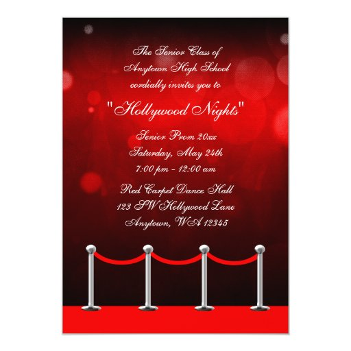 Red Silver Carpet Hollywood Prom Formal Invitation Zazzle
