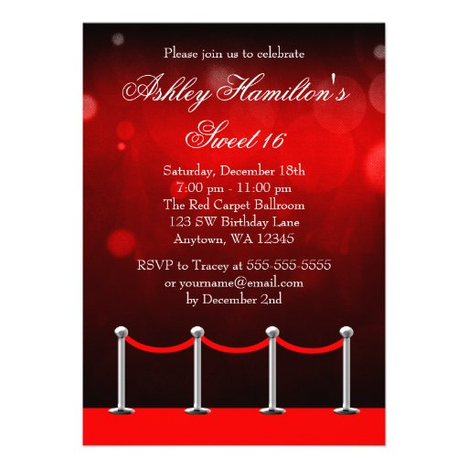 Red Silver Carpet Hollywood Sweet 16 Birthday Custom Announcements