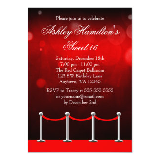 Red Silver Carpet Hollywood Sweet 16 Birthday 4.5x6.25 Paper Invitation Card