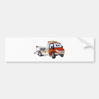 Red Silver Cartoon Tow Truck Bumper Sticker