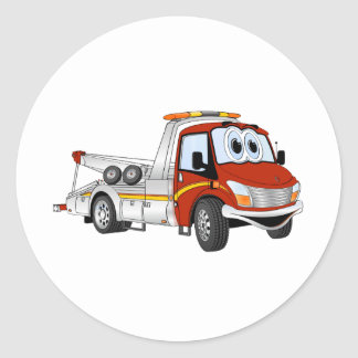 Red Silver Cartoon Tow Truck Classic Round Sticker