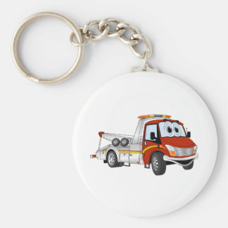 Red Silver Cartoon Tow Truck Keychain