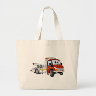Red Silver Cartoon Tow Truck Large Tote Bag
