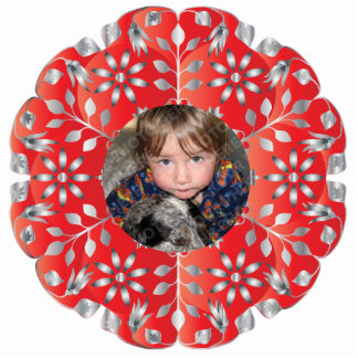 Red & Silver Christmas Photo Ornament Frame