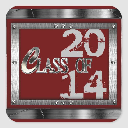 Red & Silver Class Of 2014 Graduation Stickers