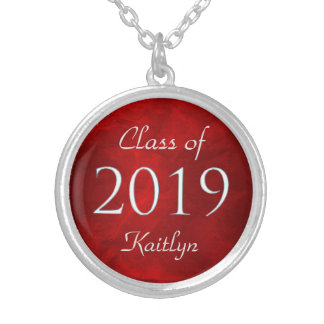 Red Silver Class of 2019 Personalized Silver Plated Necklace