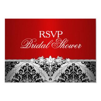 Red Silver Damask & Jewel Bridal Shower RSVP Card