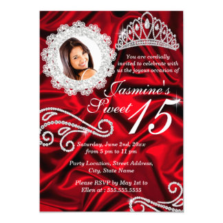 Red Silver Diamond Tiara Photo Quinceanera Card