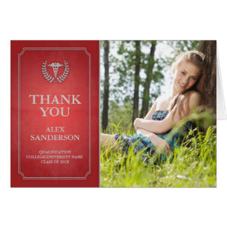 Red/Silver Doctor or Nurse Graduation Thank You Card