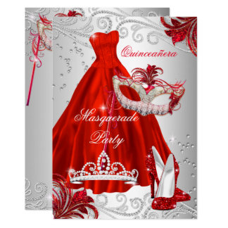 Red Silver Dress masquerade Quinceanera mask Card