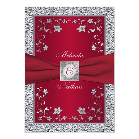 Printable Wedding Invitations Designs With Red And Silver: Red, Silver FAUX Foil Monogram Wedding Invitation