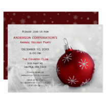 Red Silver Festive Corporate holiday party Invite