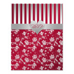 "Red, Silver Floral Hearts Reply Card 4.25"" X 5.5"" Invitation Card"