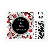 red silver floral wedding invitations postage
