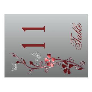 Red Silver Floral with Butterflies Table Number Postcard