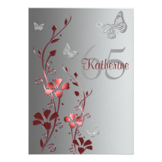 Red Silver Flowers Butterflies 65th Invitation
