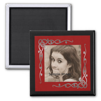 Red Silver Frame Instagram Photo Make Your Own 2 Inch Square Magnet
