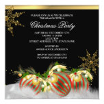 Red Silver Gold Holly Baubles Christmas Party 2 Personalized Announcement
