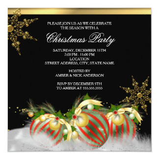 Red Silver Gold Holly Baubles Christmas Party 2 5.25x5.25 Square Paper Invitation Card