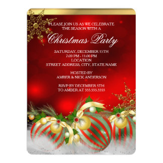 Red Silver Gold Holly Baubles Christmas Party 3 Card