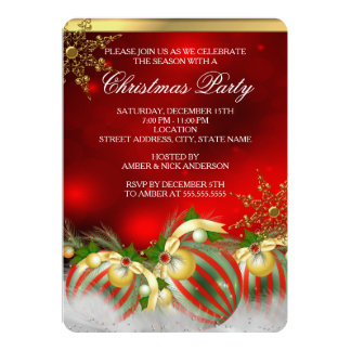 Red Silver Gold Holly Baubles Christmas Party 3 Personalized Invitations