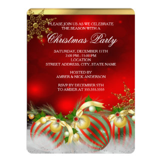 Red Silver Gold Holly Baubles Christmas Party 3 Custom Announcements