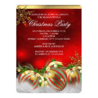 Red Silver Gold Holly Baubles Christmas Party 3 Invitation