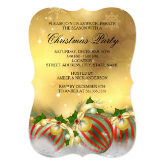 Red Silver Gold Holly Baubles Christmas Party 5x7 Paper Invitation Card