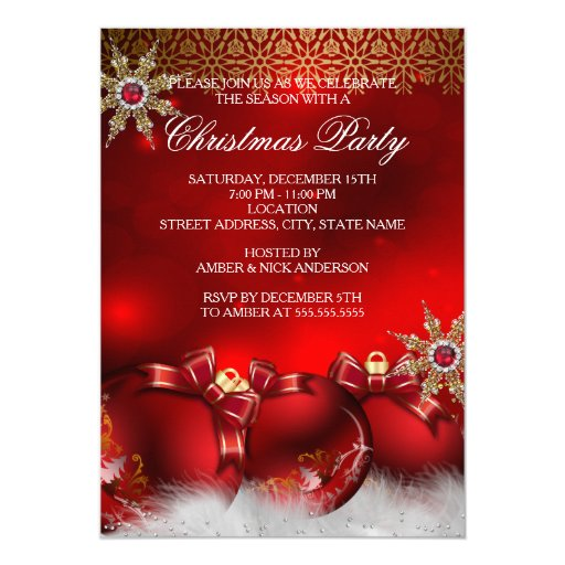 Red Silver Gold Holly Baubles Christmas Party new4 5x7 Paper Invitation Card
