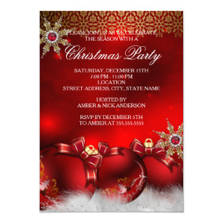 Red Silver Gold Holly Baubles Christmas Party new4 Card
