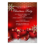 Red Silver Gold Holly Baubles Christmas Party new4 Personalized Invitation