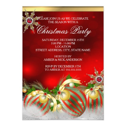 Red Silver Gold Holly Baubles Christmas Party new 5x7 Paper Invitation Card