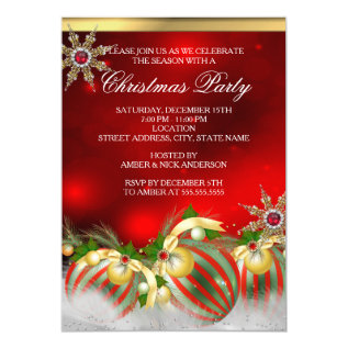 Red Silver Gold Holly Baubles Christmas Party new Card at Zazzle