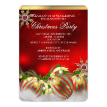 Red Silver Gold Holly Baubles Christmas Party new Invitation