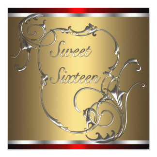 Red Silver Gold Sweet Sixteen Birthday Party Card