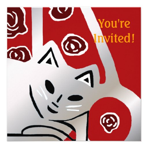 Red & Silver Gray Cat Birthday Party Invitation