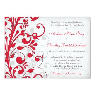 "Red Silver Grey Gray Floral Wedding Invitation 5"" X 7"" Invitation Card"