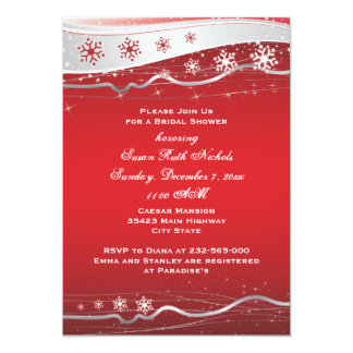 Red, silver grey snowflake wedding bridal shower card