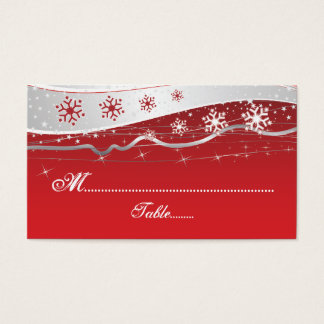 Red, silver grey snowflake wedding place card