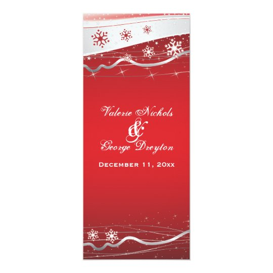 Red, silver grey snowflake wedding program card