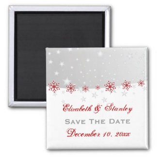 Red silver grey snowflake wedding Save the Date Magnets
