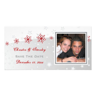 Red silver grey snowflake wedding Save the Date Personalized Photo Card
