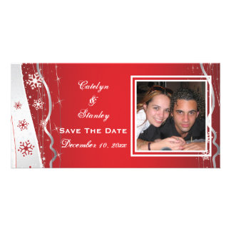 Red, silver grey snowflake wedding Save the Date Photo Cards
