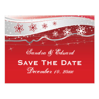 Red, silver grey snowflake wedding Save the Date Postcard