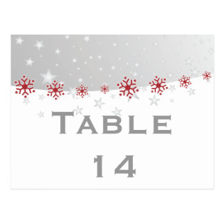 Red silver grey snowflake wedding table number postcard