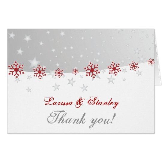 Red silver grey snowflake wedding Thank You photo Card