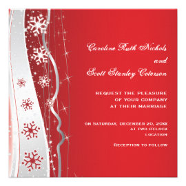 Red, silver grey snowflake winter wedding personalized invites