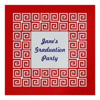 Red & Silver Key Grad Party Invitation